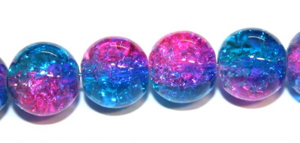 85pcs x 10mm Hot pink/blue glass crackled beads -- 3005097